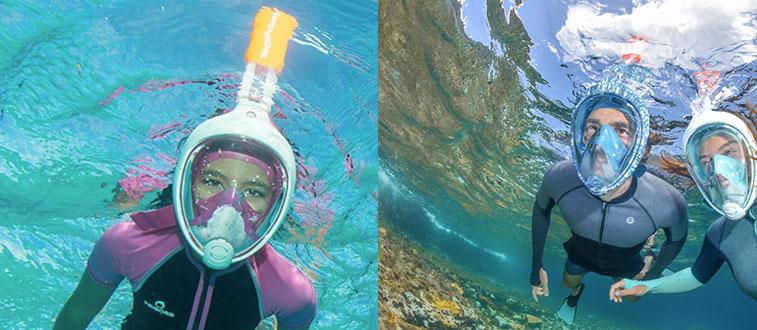 Maschera da snorkeling senza boccaglio per respirare sott acqua
